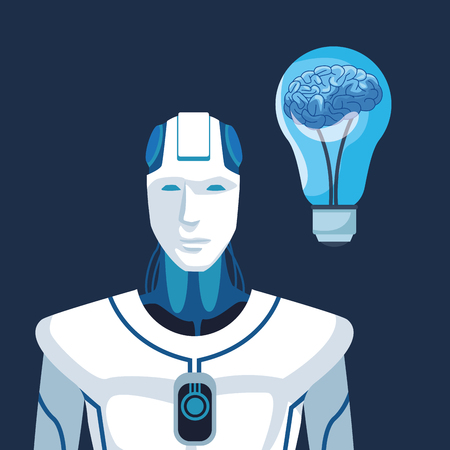 robot with artificial intelligence with brain in light bulb vector illustration graphic design Vektorové ilustrace