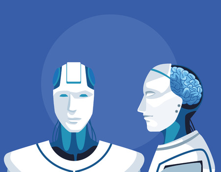 humanoid robot avatar front and profile view vector illustration graphic design