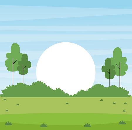 park with sun rising landscape with trees vector illustration graphic design Ilustrace