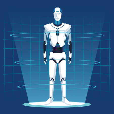 humanoid robot avatar with mesh background vector illustration graphic design