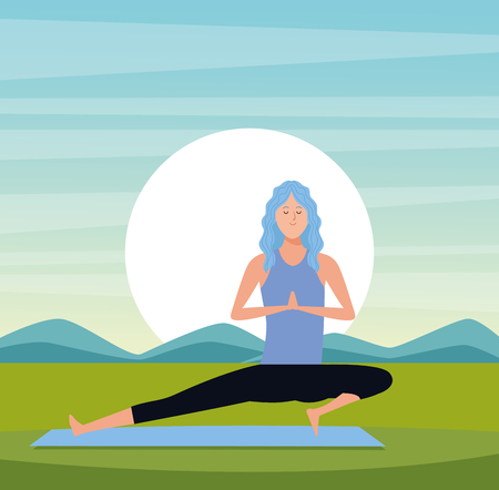 woman in yoga poses warrior mediation hands posture with sun rising landscape vector illustration graphic design