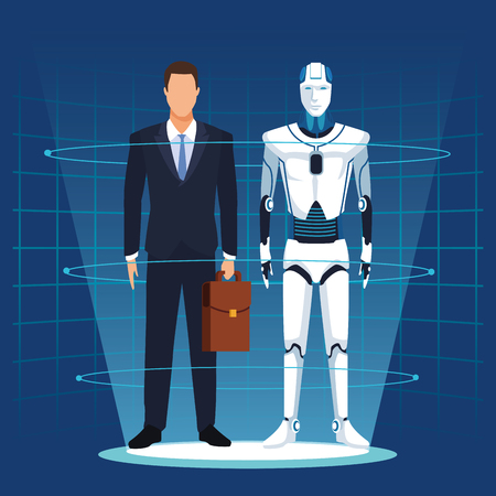 humanoid robot and businessman with briefcase with mesh background vector illustration graphic design