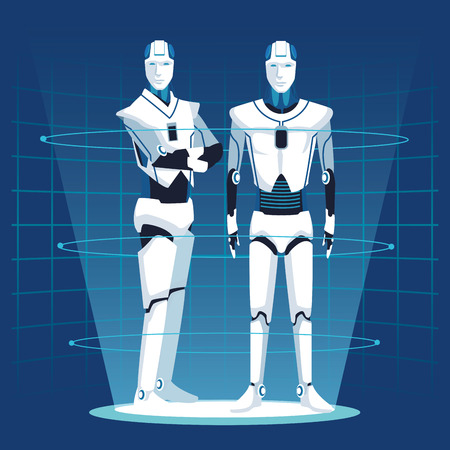 humanoid robot avatar couple with mesh background vector illustration graphic design