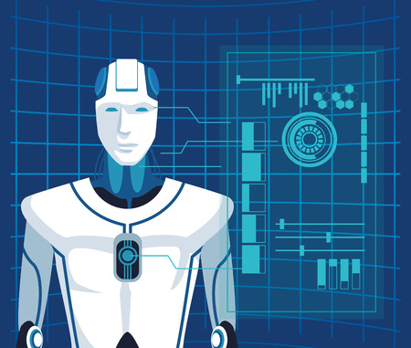 humanoid robot avatar with futuristic elements and mesh background vector illustration graphic design
