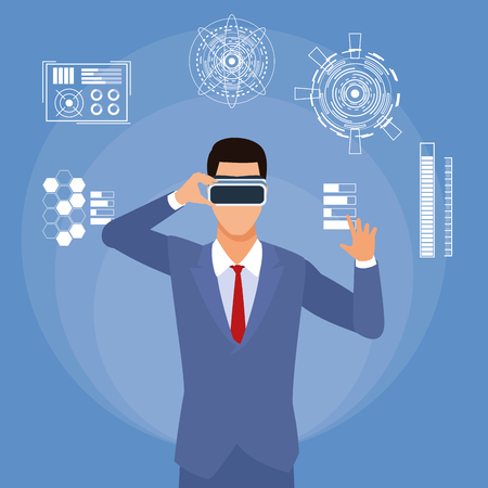 businessman wirh virtual glasses with futuristic elements vector illustration graphic design