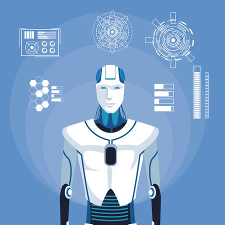 humanoid robot avatar with futuristic elements vector illustration graphic design
