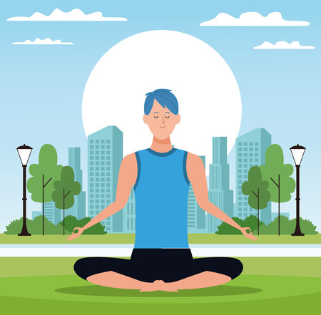 man yoga poses lotus posture with the rising sun in the park with cityscape vector illustration graphic design 向量圖像