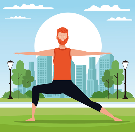man yoga poses warrior posture with the rising sun in the park with cityscape vector illustration graphic design Illustration