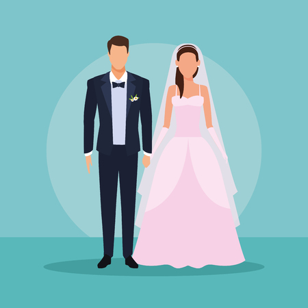 wedding couple holding hands with bow tie and pink suit vector illustration graphic design Banque d'images - 127257307