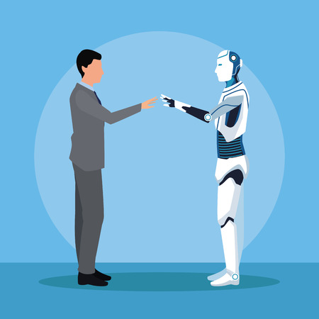 humanoid robot and businessman full body touching hands vector illustration graphic design