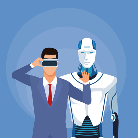 humanoid robot and businessman half body with virtual glasses vector illustration graphic design