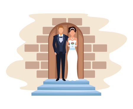 wedding couple in chapel door with bow tie and bouquet vector illustration graphic design