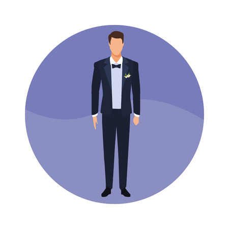 groom kind of suit with bow tie and coat round icon vector illustration graphic design 矢量图像