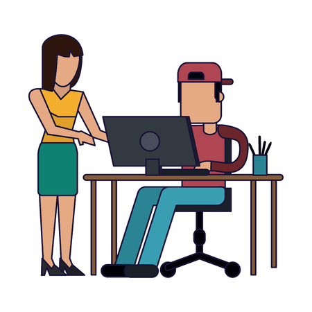 businesswoman and coworker with laptop on desk vector illustration graphic design