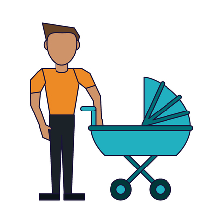 Family single father with pram vector illustration graphic design