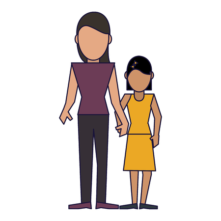 Family single mom and daugther vector illustration graphic design