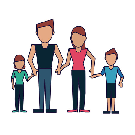 Family father and mother with daughter and son vector illustration graphic design 矢量图像