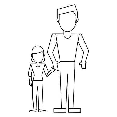 Family single father with daughter vector illustration graphic design