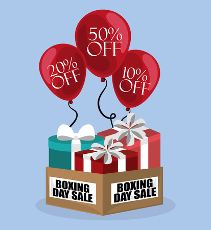 Boxing day sale card with gift boxes and balloons discounts vector illustration graphic design Illustration