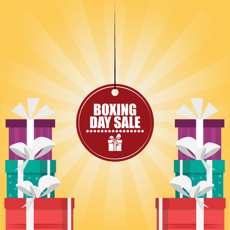 Boxing day sale card with label tag and gift boxes vector illustration graphic design