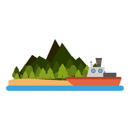 Fishing boat on island scenery Illustration