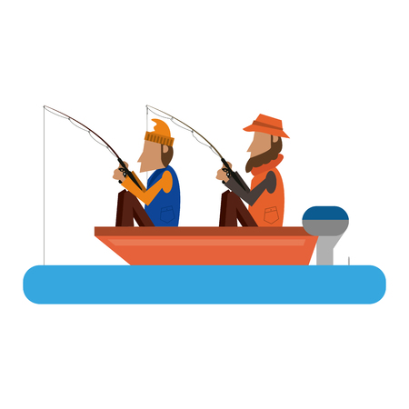 Fishermen in boat with rods vector illustration graphic design Illustration