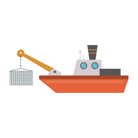 Fish ship boat with catch rope vector illustration graphic design Illustration