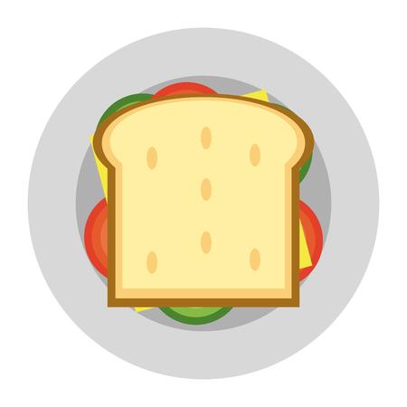 Delicious sandwich food topview vector illustration graphic design