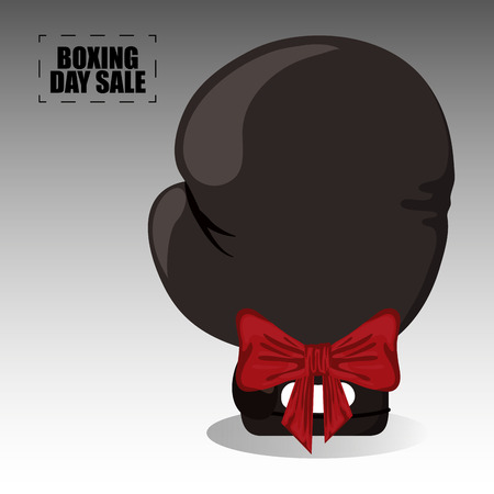 Boxing day sale card with glove and giftbox vector illustration graphic design