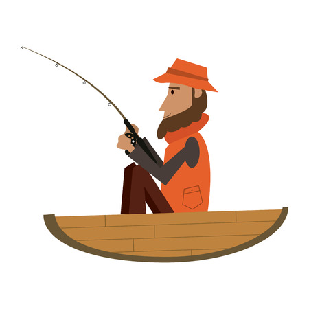 Fisherman in wooden boat vector illustration graphic design