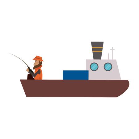 Fisherman in fish ship boat vector illustration graphic design