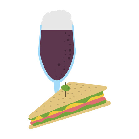 Delicious sandwich with soda food vector illustration graphic design