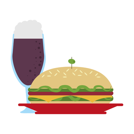 Delicious sandwich food with soda cup vector illustration graphic design 向量圖像