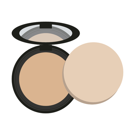 Makeup round powder with mirror vector illustration graphic design