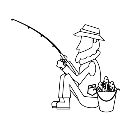 Fisherman with rod and fishes in bucket cartoon vector illustration graphic design Stock Illustratie