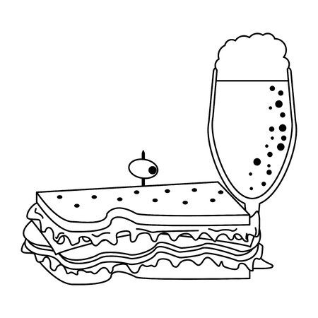 Delicious sandwich food with soda cup vector illustration graphic design
