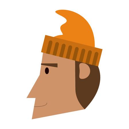 Fisherman head with hat cartoon vector illustration graphic design