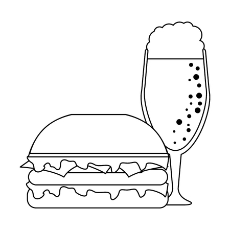 Hamburger fast food with sweet soda cup vector illustration graphic design