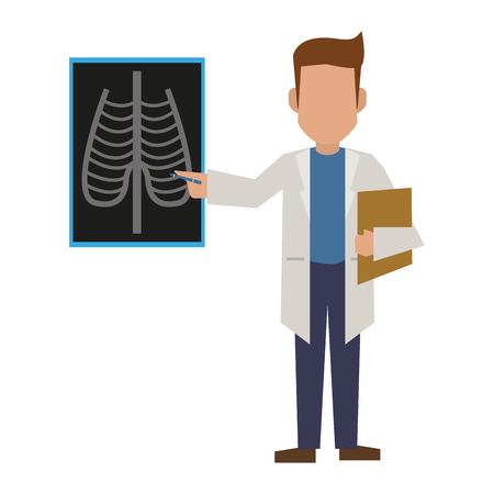 Doctor showing xray and clipboard avatar concept vector illustration graphic design Illustration