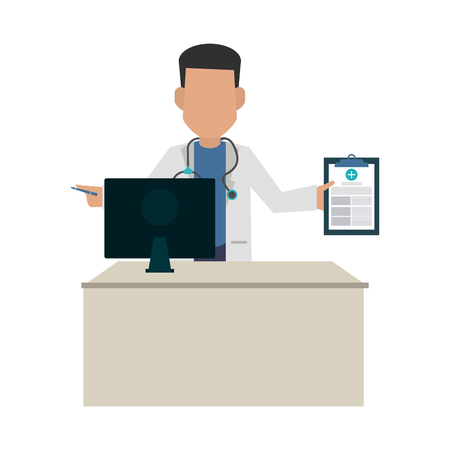 doctor in office with clipboard concept vector illustration graphic design