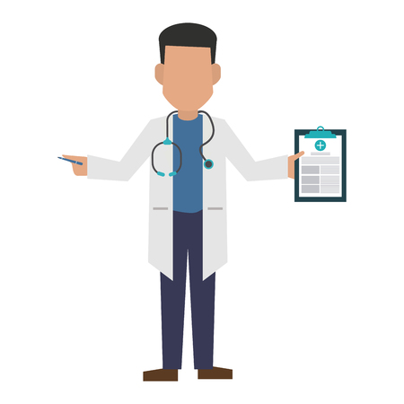 Doctor avatar with clipboard concept vector illustration graphic design Illusztráció