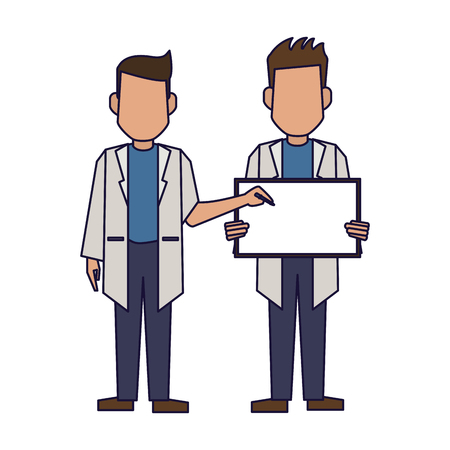 Doctors with blank sign avatar vector illustration graphic design 矢量图像