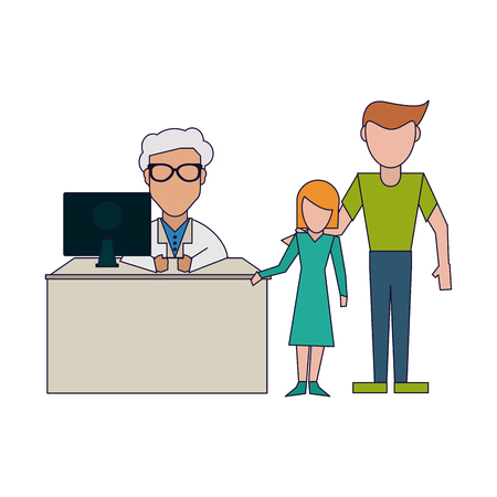Doctor working with computer and patient in office vector illustration graphic design