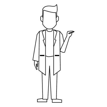 Doctor with pen avatar concept vector illustration graphic design 矢量图像