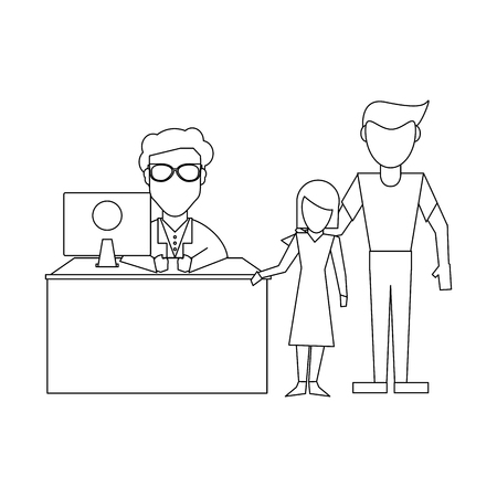 Doctor working with computer and patient in office vector illustration graphic design Stok Fotoğraf - 127234413