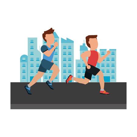 Fitness running men in the city vector illustration graphic design 向量圖像