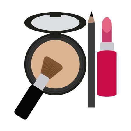 Makeup fashion powder and lipstick with pen and brush vector illustration graphic design Vektorgrafik