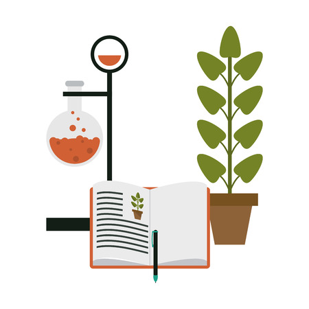 Science chemistry flask with book open and plant pot vector illustration graphic design Illustration