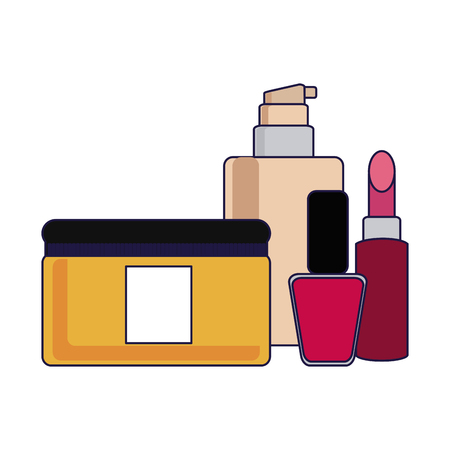 Makeup fashion bottles and lipstick with nail polish vector illustration graphic design