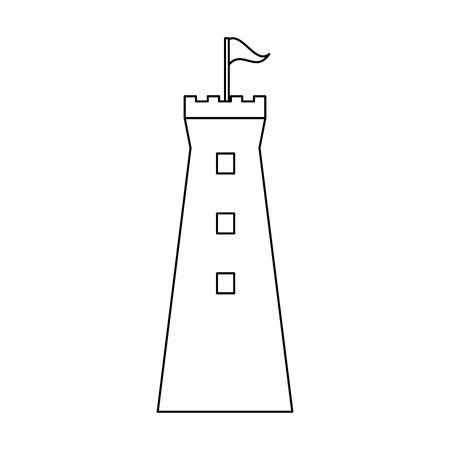 Medieval castle tower isolated vector illustration graphic design Ilustração